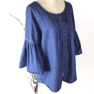 Est. 1946 Chambray Blue Bell Sleeve Tunic Top